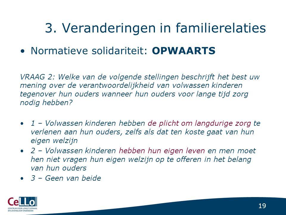 19 3. Veranderingen in familierelaties Normatieve solidariteit: OPWAARTS VRAAG 2: Welke van de volgende stellingen beschrijft het best uw mening over