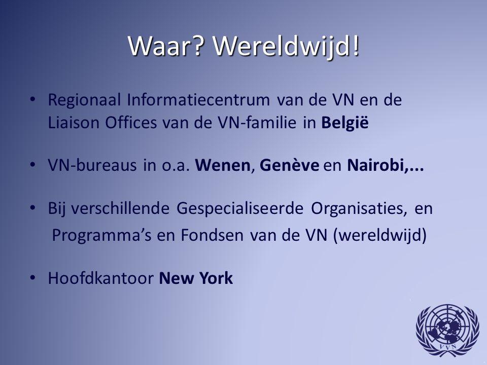 Waar? Wereldwijd! Regionaal Informatiecentrum van de VN en de Liaison Offices van de VN-familie in België VN-bureaus in o.a. Wenen, Genève en Nairobi,
