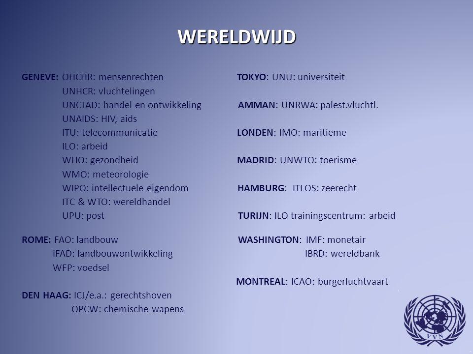 WERELDWIJD GENEVE: OHCHR: mensenrechten TOKYO: UNU: universiteit UNHCR: vluchtelingen UNCTAD: handel en ontwikkeling AMMAN: UNRWA: palest.vluchtl. UNA