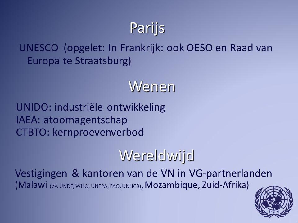 Parijs UNESCO (opgelet: In Frankrijk: ook OESO en Raad van Europa te Straatsburg) Wenen Wereldwijd UNIDO: industriële ontwikkeling IAEA: atoomagentschap CTBTO: kernproevenverbod Vestigingen & kantoren van de VN in VG-partnerlanden (Malawi (bv.
