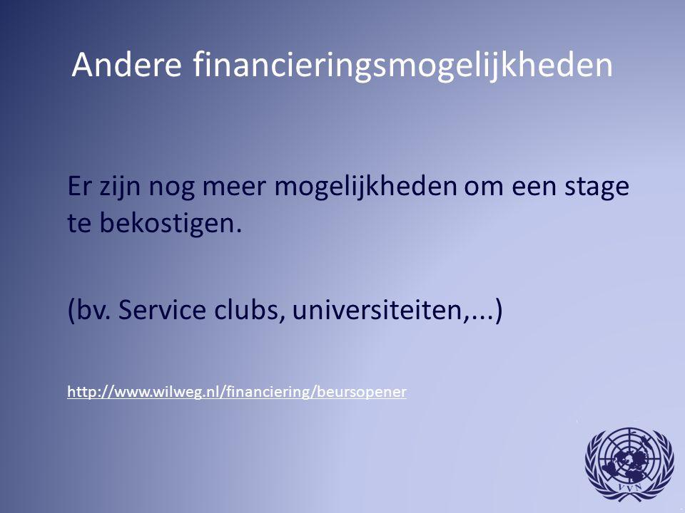 Andere financieringsmogelijkheden Er zijn nog meer mogelijkheden om een stage te bekostigen. (bv. Service clubs, universiteiten,...) http://www.wilweg
