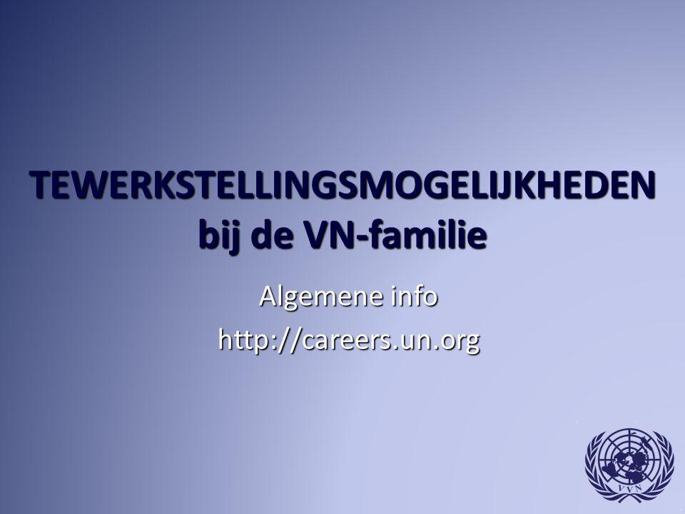 TEWERKSTELLINGSMOGELIJKHEDEN bij de VN-familie Algemene info http://careers.un.org