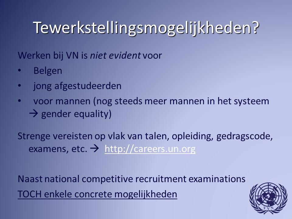 Tewerkstellingsmogelijkheden? Werken bij VN is niet evident voor Belgen jong afgestudeerden voor mannen (nog steeds meer mannen in het systeem  gende
