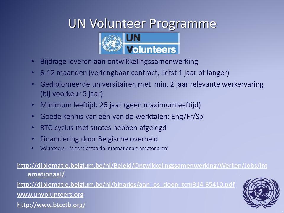 UN Volunteer Programme Bijdrage leveren aan ontwikkelingssamenwerking 6-12 maanden (verlengbaar contract, liefst 1 jaar of langer) Gediplomeerde universitairen met min.