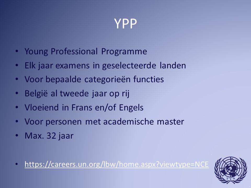 YPP Young Professional Programme Elk jaar examens in geselecteerde landen Voor bepaalde categorieën functies België al tweede jaar op rij Vloeiend in Frans en/of Engels Voor personen met academische master Max.