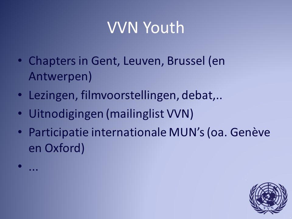 VVN Youth Chapters in Gent, Leuven, Brussel (en Antwerpen) Lezingen, filmvoorstellingen, debat,.. Uitnodigingen (mailinglist VVN) Participatie interna