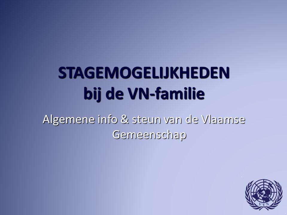 STAGEMOGELIJKHEDEN bij de VN-familie Algemene info & steun van de Vlaamse Gemeenschap