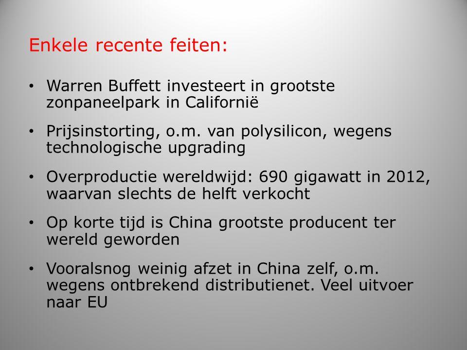Subsidies aan consumenten onlangs afgebouwd in EU landen en in VS Vandaar o.m.: – in VS failliet van Solyndra, ondanks gewaarborgde lening van $ 500 mln.; – in Duitsland idem voor QCells en …; – in China ongeveer 400 producenten in 2012; – en een bedrijf in Tienen