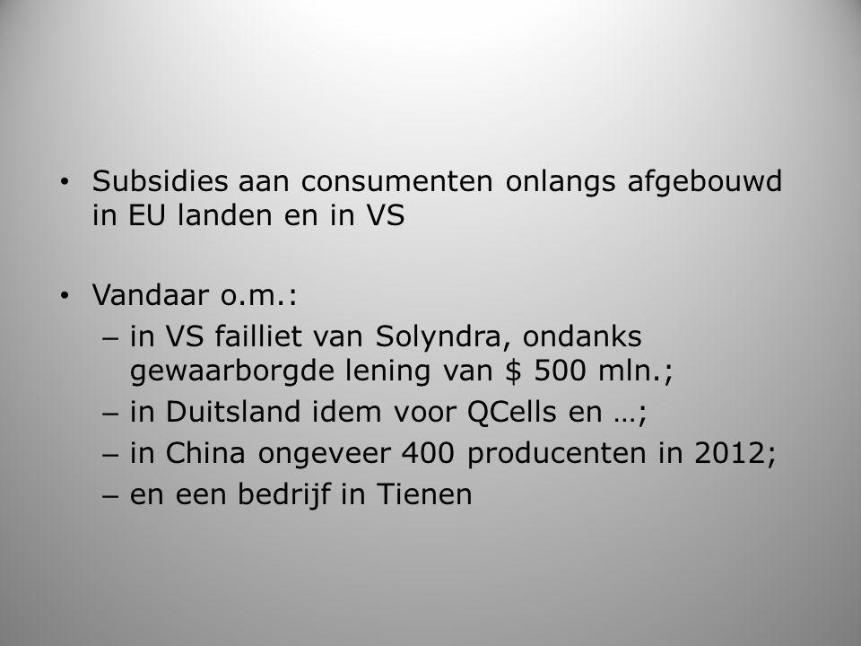 Subsidies aan consumenten onlangs afgebouwd in EU landen en in VS Vandaar o.m.: – in VS failliet van Solyndra, ondanks gewaarborgde lening van $ 500 m