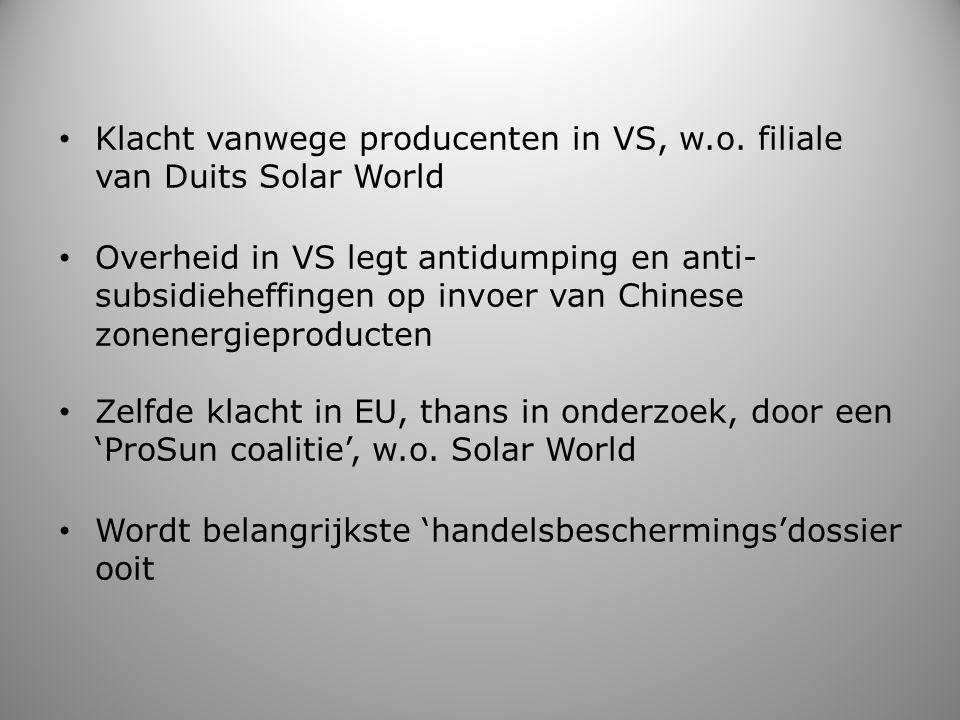 Klacht vanwege producenten in VS, w.o. filiale van Duits Solar World Overheid in VS legt antidumping en anti- subsidieheffingen op invoer van Chinese