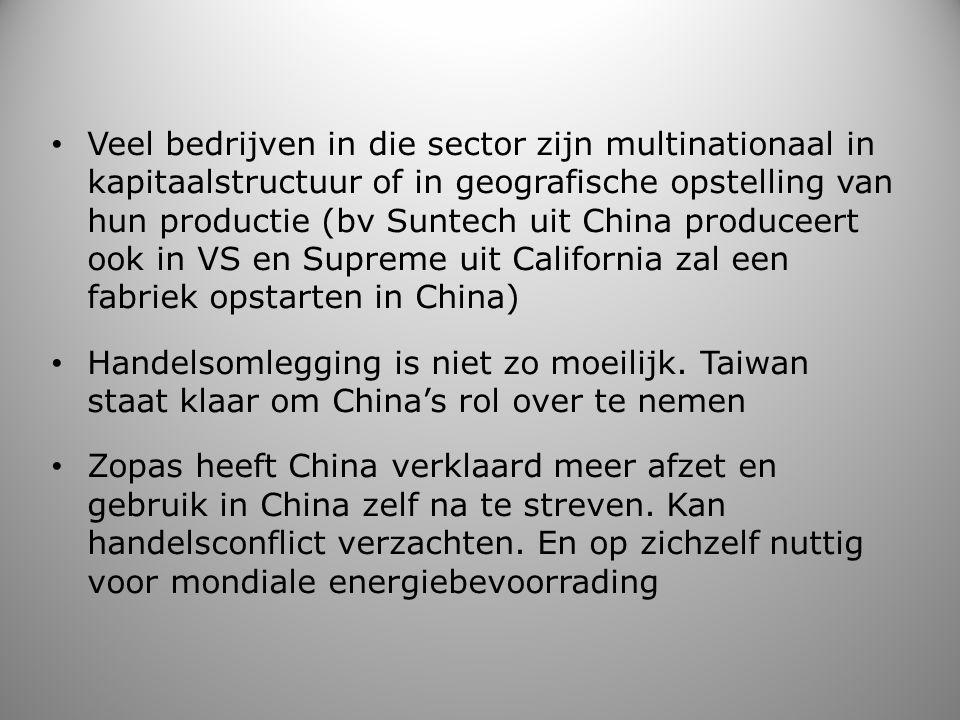 Veel bedrijven in die sector zijn multinationaal in kapitaalstructuur of in geografische opstelling van hun productie (bv Suntech uit China produceert
