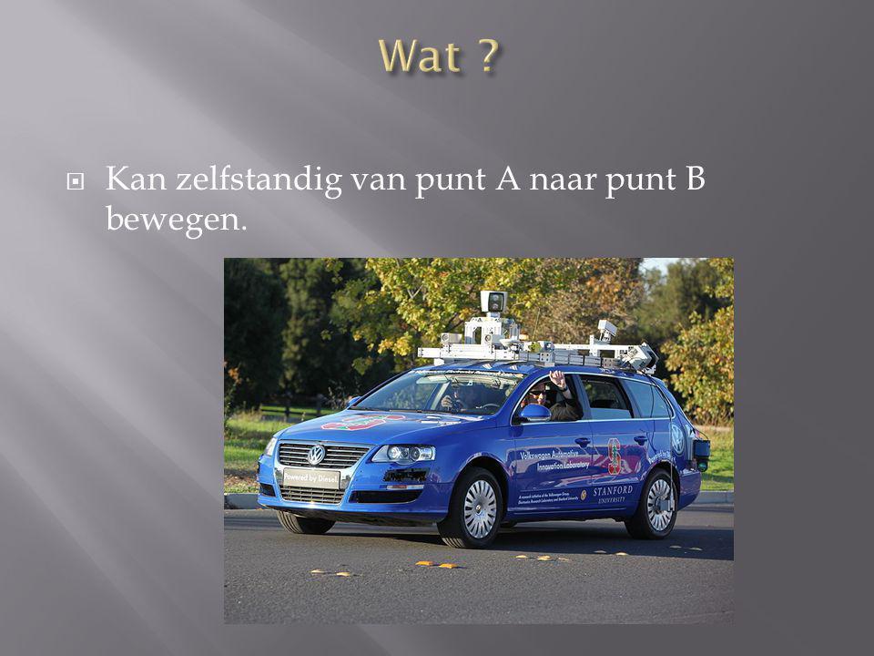  Sensoren:  op dak : detectie omgeving  Aan linkerwiel : plaatst auto op map