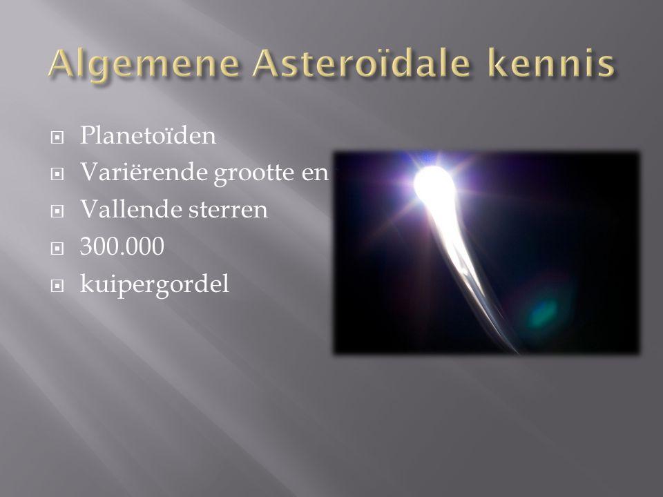  Planetoïden  Variërende grootte en vorm  Vallende sterren  300.000  kuipergordel