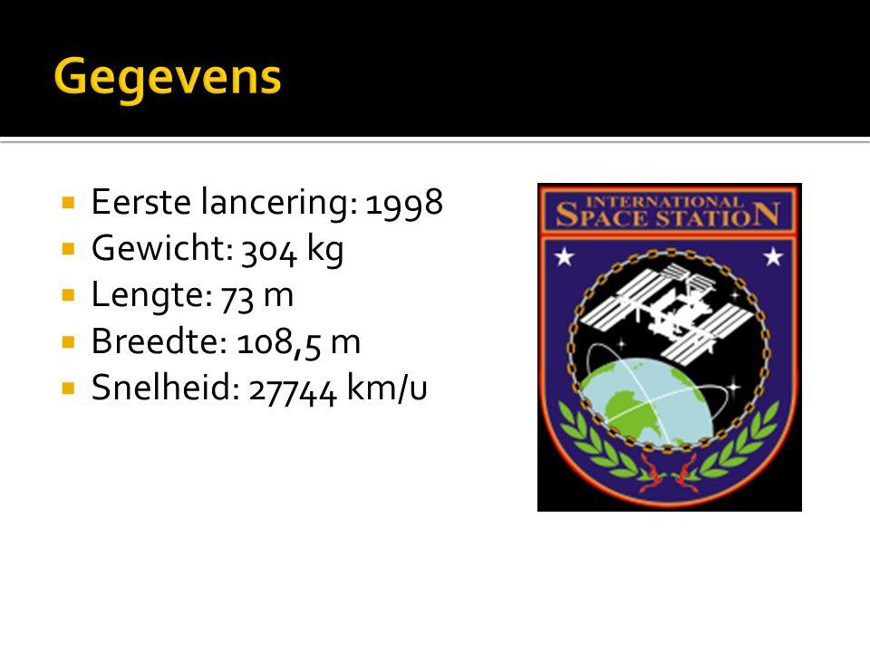  Eerste lancering: 1998  Gewicht: 304 kg  Lengte: 73 m  Breedte: 108,5 m  Snelheid: 27744 km/u
