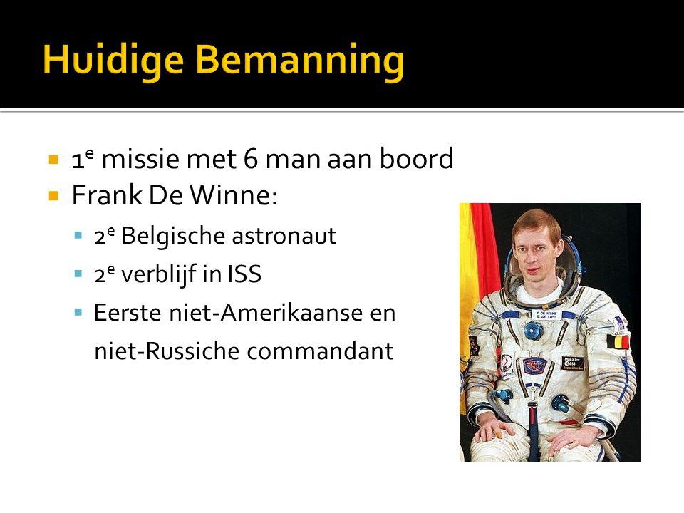  1 e missie met 6 man aan boord  Frank De Winne:  2 e Belgische astronaut  2 e verblijf in ISS  Eerste niet-Amerikaanse en niet-Russiche commanda