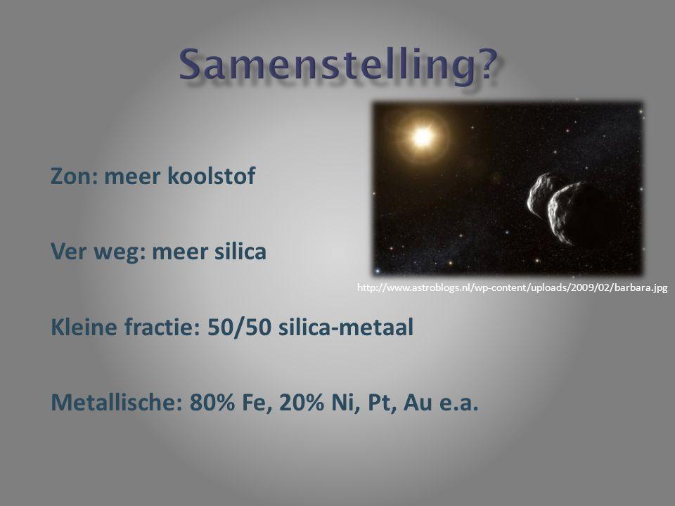 Zon: meer koolstof Ver weg: meer silica Kleine fractie: 50/50 silica-metaal Metallische: 80% Fe, 20% Ni, Pt, Au e.a. http://www.astroblogs.nl/wp-conte