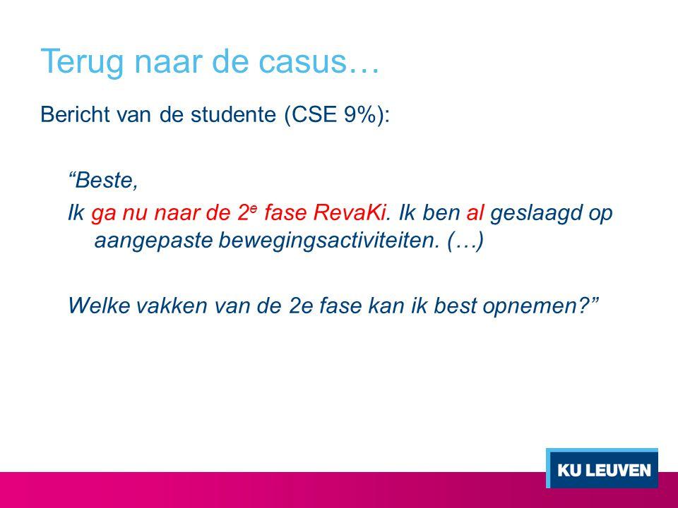"""Terug naar de casus… Bericht van de studente (CSE 9%): """"Beste, Ik ga nu naar de 2 e fase RevaKi. Ik ben al geslaagd op aangepaste bewegingsactiviteite"""