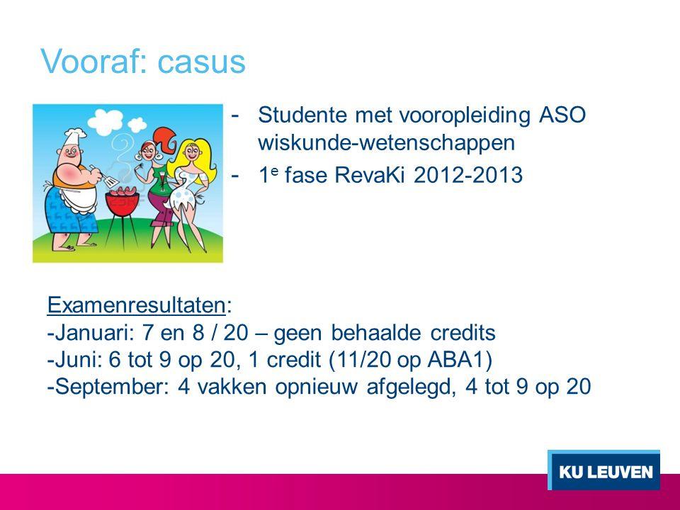 Vooraf: casus - Studente met vooropleiding ASO wiskunde-wetenschappen - 1 e fase RevaKi 2012-2013 Examenresultaten: -Januari: 7 en 8 / 20 – geen behaa