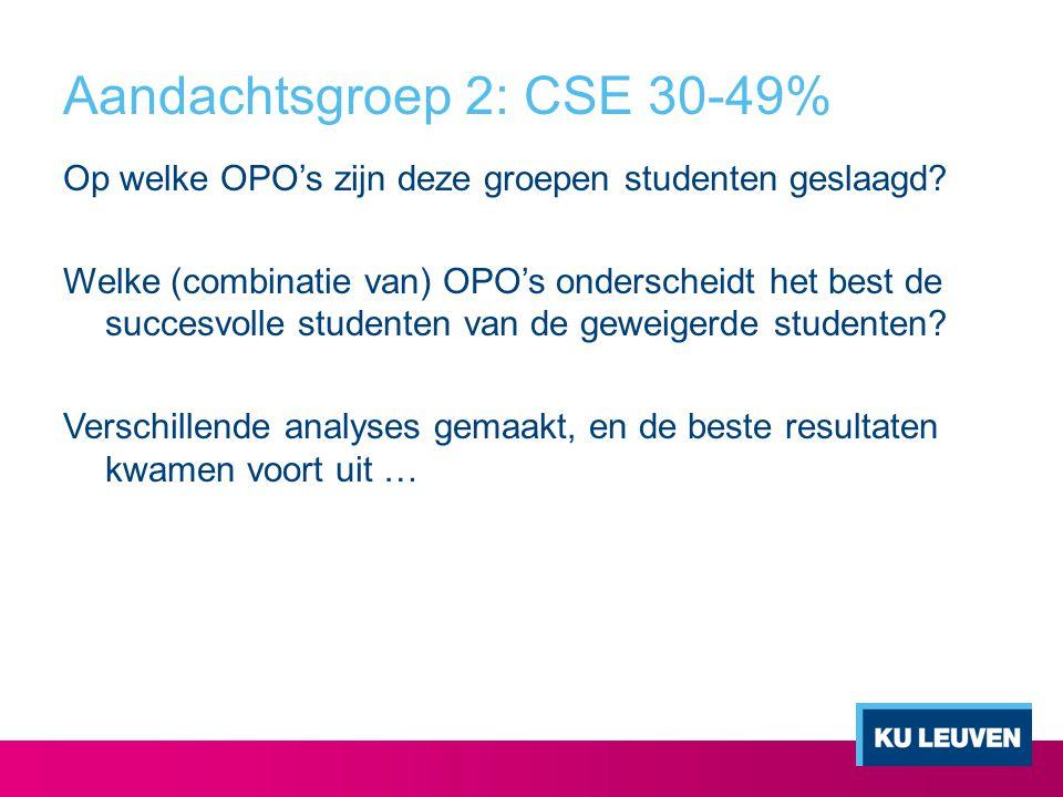 Aandachtsgroep 2: CSE 30-49% Op welke OPO's zijn deze groepen studenten geslaagd? Welke (combinatie van) OPO's onderscheidt het best de succesvolle st