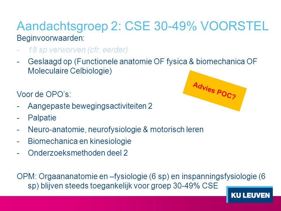 Aandachtsgroep 2: CSE 30-49% VOORSTEL Beginvoorwaarden: - 18 sp verworven (cfr. eerder) - Geslaagd op (Functionele anatomie OF fysica & biomechanica O
