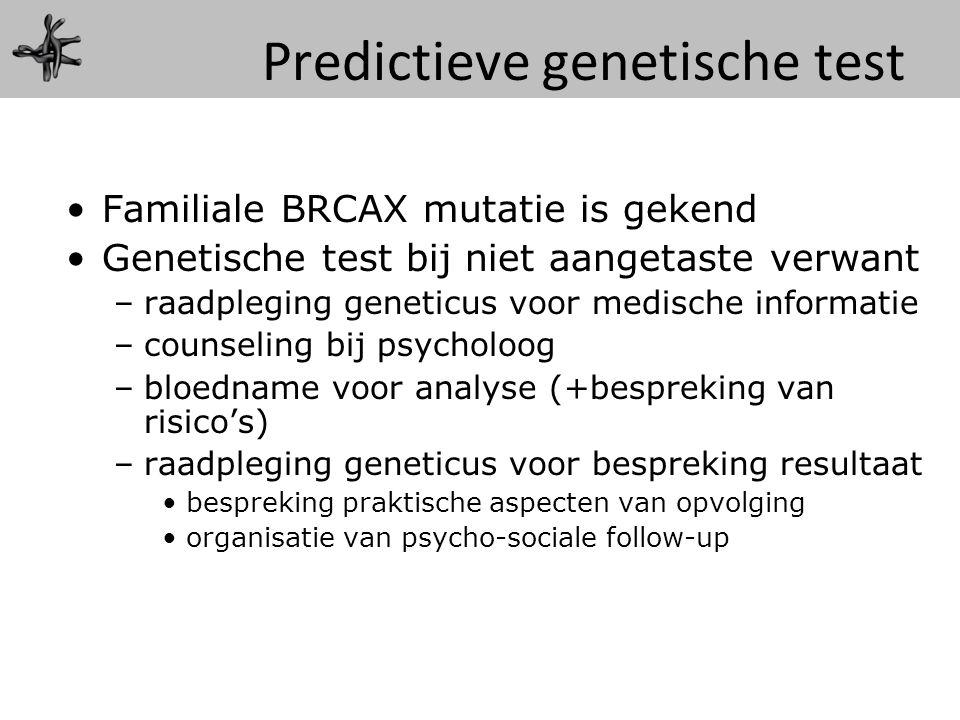 Familiale BRCAX mutatie is gekend Genetische test bij niet aangetaste verwant –raadpleging geneticus voor medische informatie –counseling bij psycholo