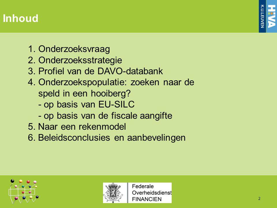 Inhoud 1.Onderzoeksvraag 2.Onderzoeksstrategie 3.Profiel van de DAVO-databank 4.Onderzoekspopulatie: zoeken naar de speld in een hooiberg.