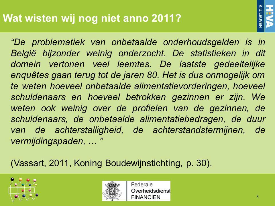 Inkomstenverlies door wanbetaling voor de lopende voorschotdossiers, september 2011 16 Bron Eigen berekening op basis van DAVO-databank