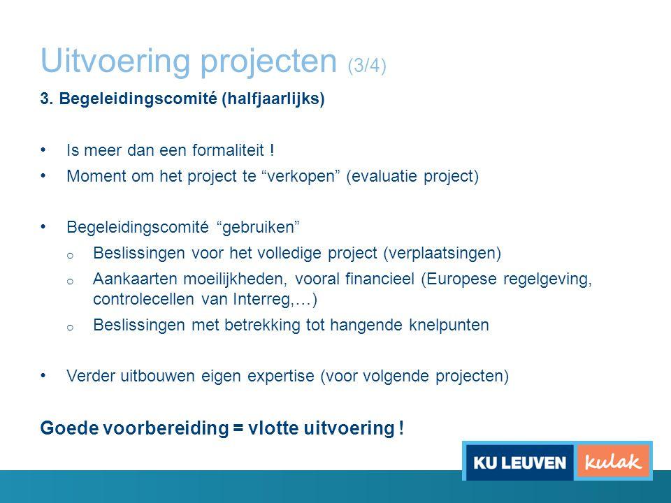 """Uitvoering projecten (3/4) 3. Begeleidingscomité (halfjaarlijks) Is meer dan een formaliteit ! Moment om het project te """"verkopen"""" (evaluatie project)"""