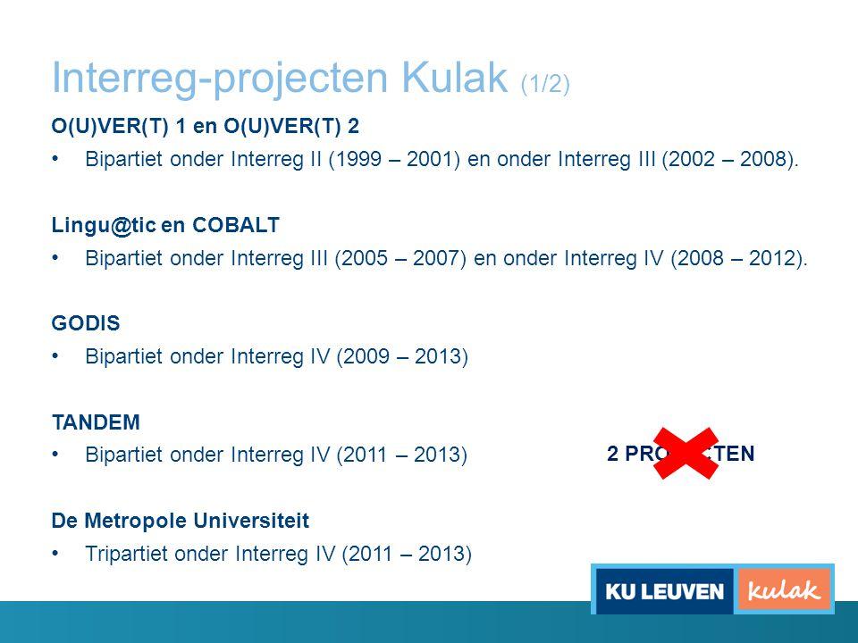 Interreg-projecten Kulak (1/2) O(U)VER(T) 1 en O(U)VER(T) 2 Bipartiet onder Interreg II (1999 – 2001) en onder Interreg III (2002 – 2008). Lingu@tic e