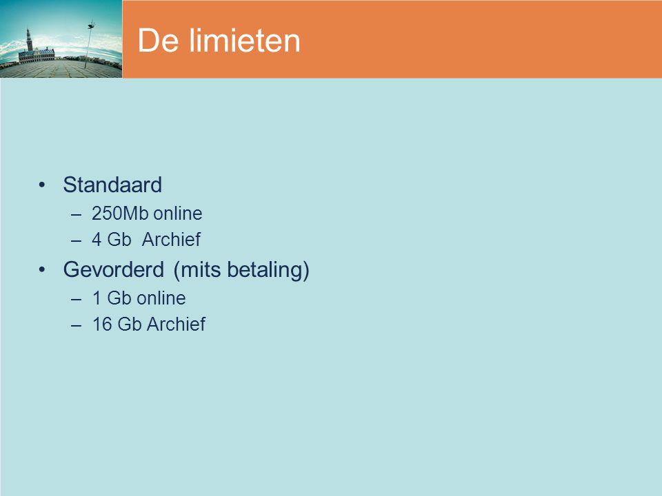 De limieten Standaard –250Mb online –4 Gb Archief Gevorderd (mits betaling) –1 Gb online –16 Gb Archief