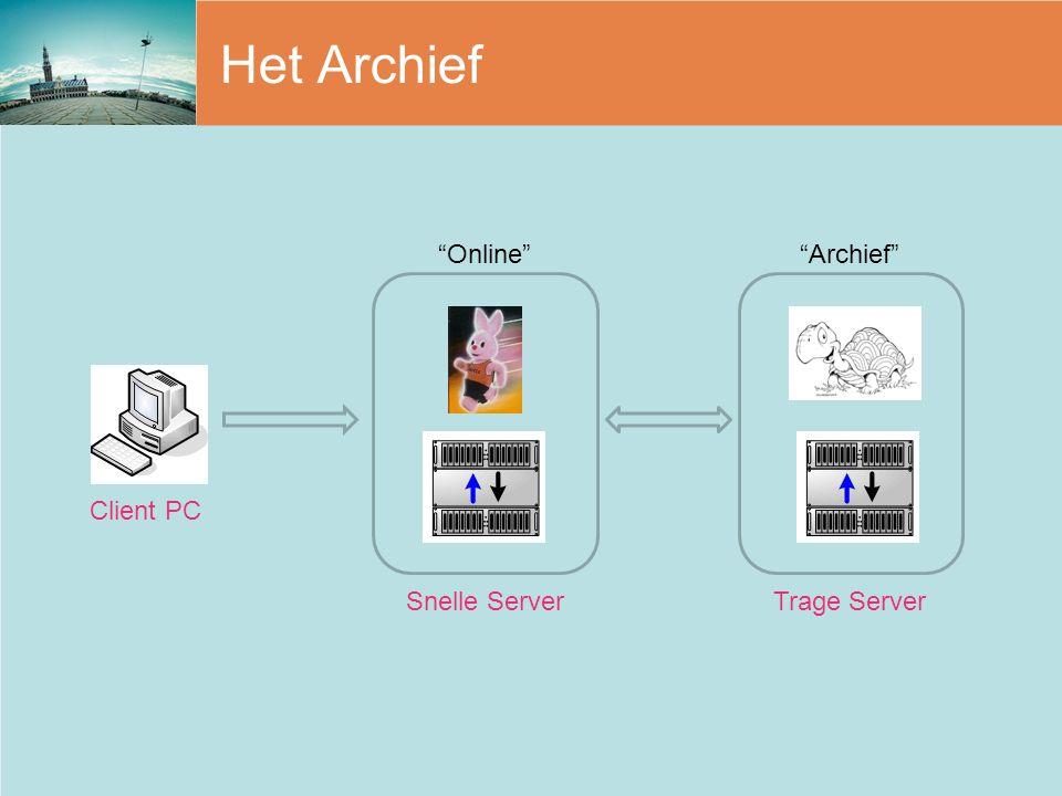 """Het Archief """"Online""""""""Archief"""" Client PC Snelle ServerTrage Server"""