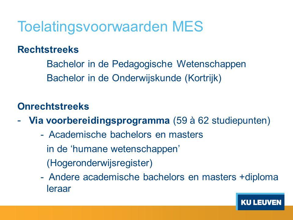 Toelatingsvoorwaarden MES Rechtstreeks Bachelor in de Pedagogische Wetenschappen Bachelor in de Onderwijskunde (Kortrijk) Onrechtstreeks - Via voorber
