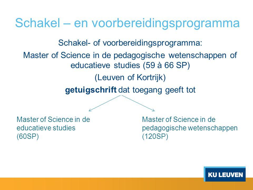 Schakel – en voorbereidingsprogramma Schakel- of voorbereidingsprogramma: Master of Science in de pedagogische wetenschappen of educatieve studies (59