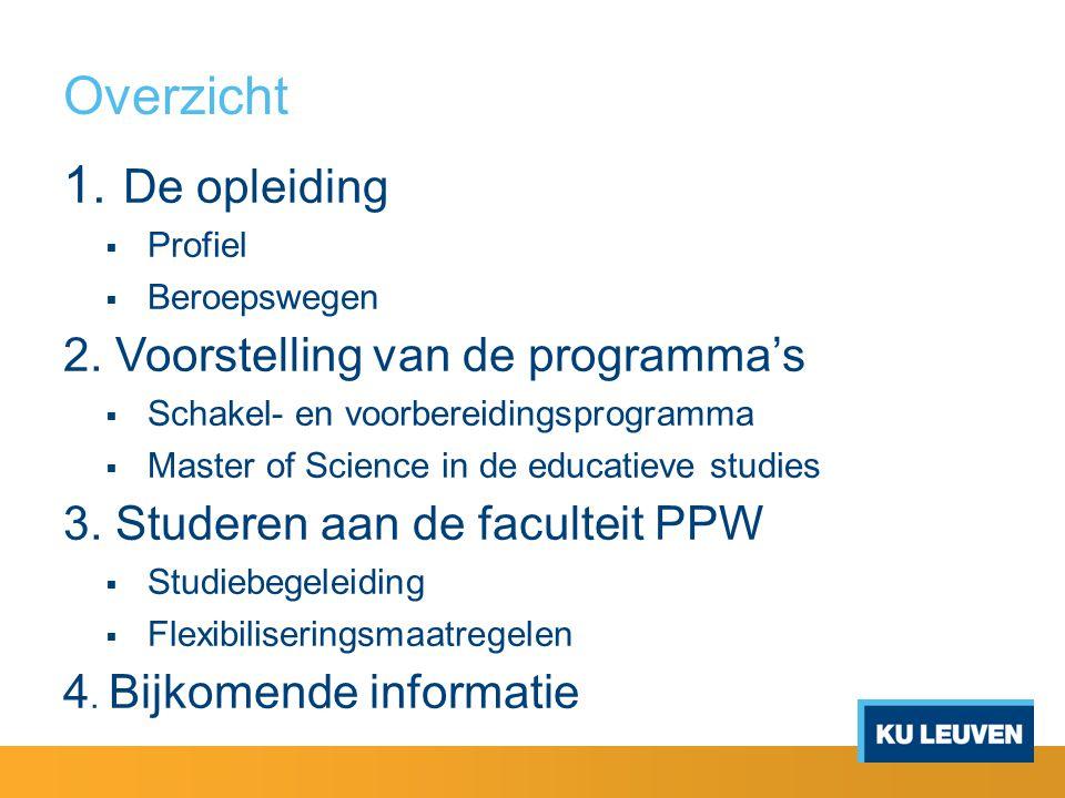 Overzicht 1. De opleiding  Profiel  Beroepswegen 2. Voorstelling van de programma's  Schakel- en voorbereidingsprogramma  Master of Science in de