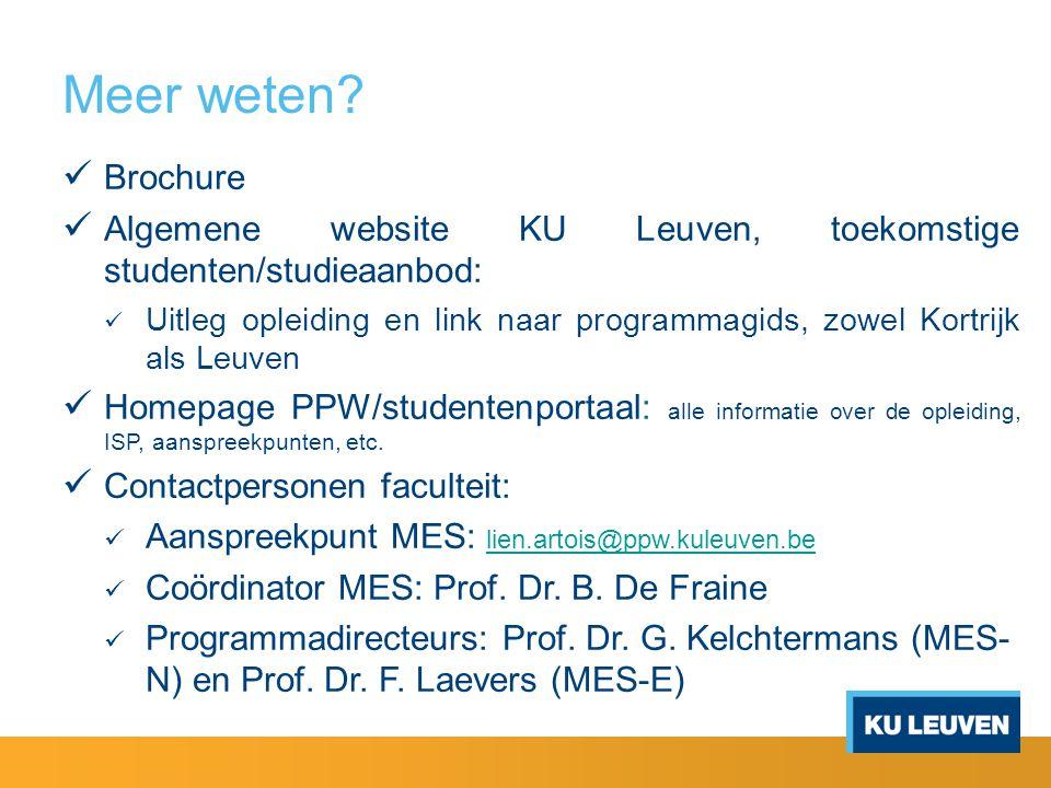 Meer weten? Brochure Algemene website KU Leuven, toekomstige studenten/studieaanbod: Uitleg opleiding en link naar programmagids, zowel Kortrijk als L