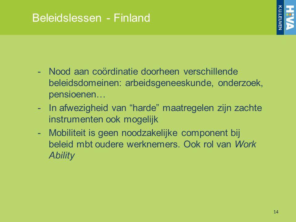 Beleidslessen - Finland 14 -Nood aan coördinatie doorheen verschillende beleidsdomeinen: arbeidsgeneeskunde, onderzoek, pensioenen… -In afwezigheid va