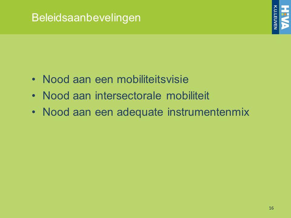 Beleidsaanbevelingen Nood aan een mobiliteitsvisie Nood aan intersectorale mobiliteit Nood aan een adequate instrumentenmix 16