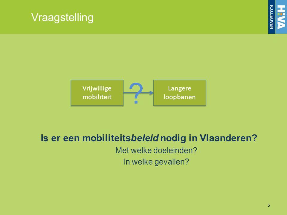 Aanpak Literatuurstudie –Mobiliteitsbarrières tijdens de latere loopbaan –Mobiliteitsregimes –Beleidsinstrumenten Cases: –Regimes: NL, UK, Finland –Concrete maatregelen: SE, FR, JP, VS Beleidsaanbevelingen –Terugkoppeling aan Vlaamse context –Aanbevelingen 6
