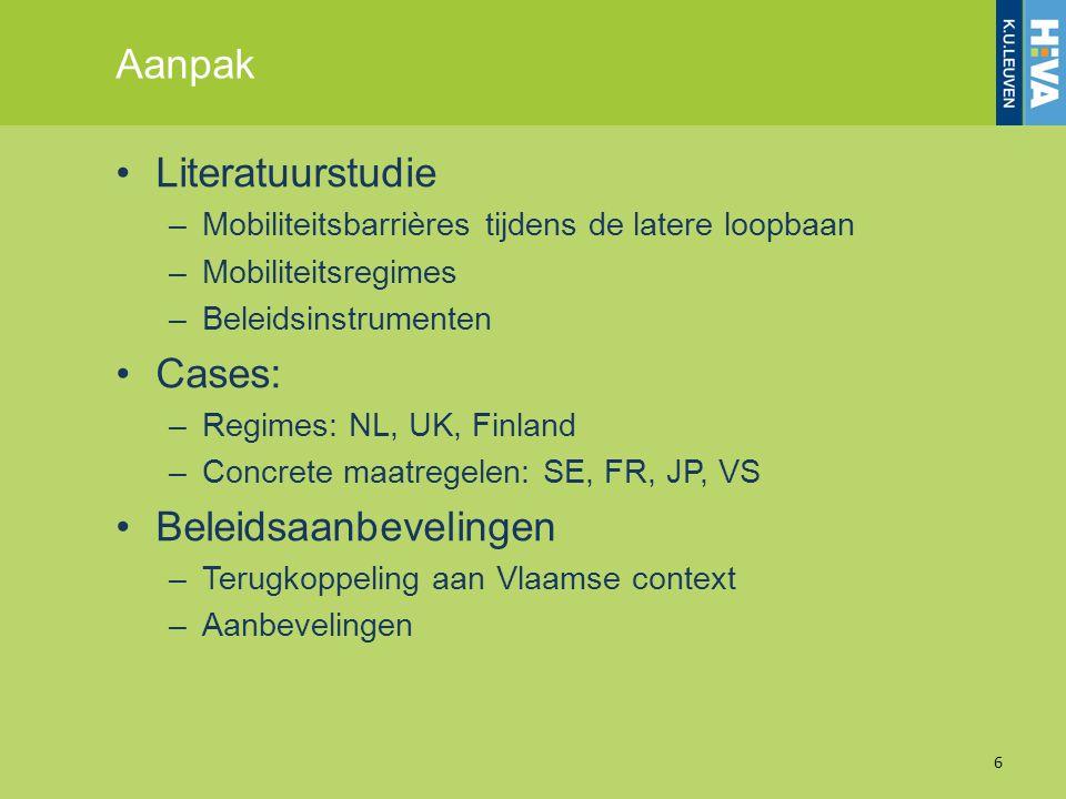 Aanpak Literatuurstudie –Mobiliteitsbarrières tijdens de latere loopbaan –Mobiliteitsregimes –Beleidsinstrumenten Cases: –Regimes: NL, UK, Finland –Co