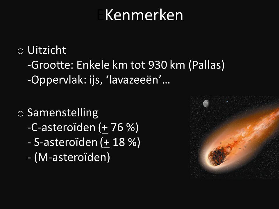 EKenmerken o Uitzicht -Grootte: Enkele km tot 930 km (Pallas) -Oppervlak: ijs, 'lavazeeën'… o Samenstelling -C-asteroïden (+ 76 %) - S-asteroïden (+ 1