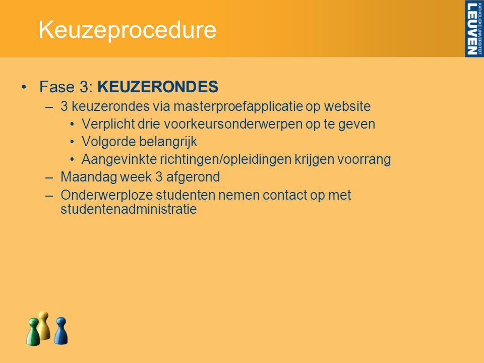 Keuzeprocedure Fase 3: KEUZERONDES –3 keuzerondes via masterproefapplicatie op website Verplicht drie voorkeursonderwerpen op te geven Volgorde belang