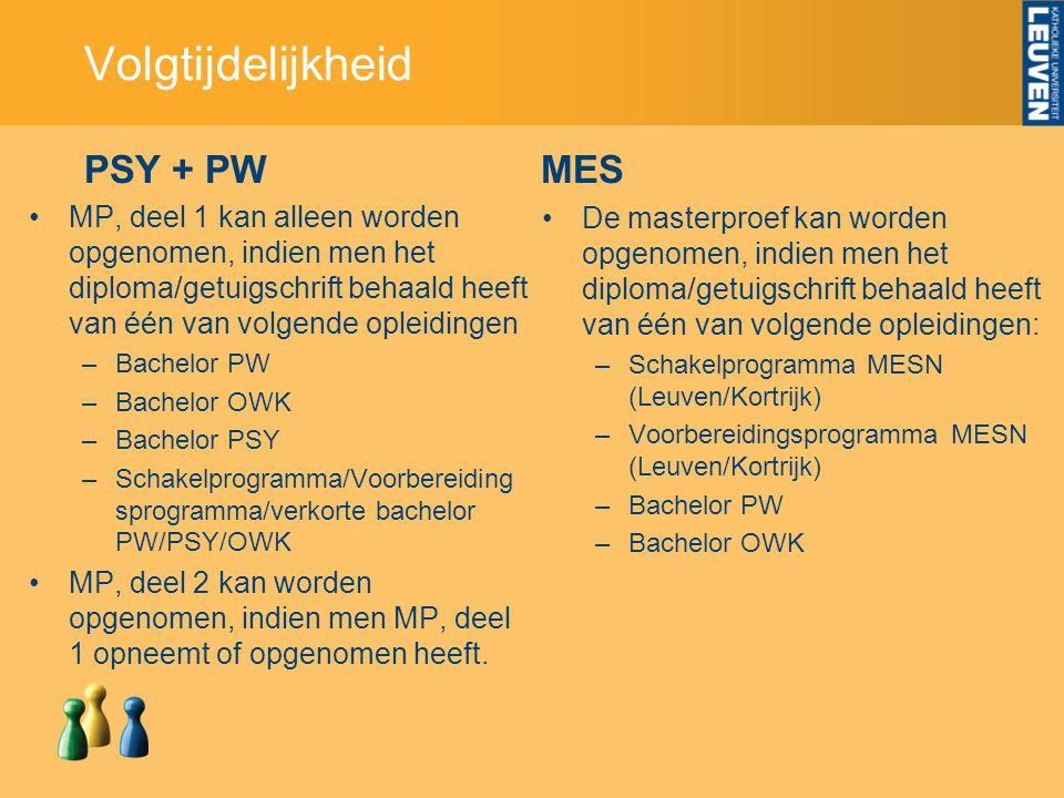 PSY + PW MP, deel 1 kan alleen worden opgenomen, indien men het diploma/getuigschrift behaald heeft van één van volgende opleidingen –Bachelor PW –Bac
