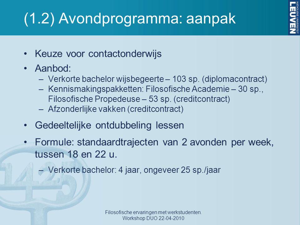 (1.2) Avondprogramma: aanpak Keuze voor contactonderwijs Aanbod: –Verkorte bachelor wijsbegeerte – 103 sp. (diplomacontract) –Kennismakingspakketten: