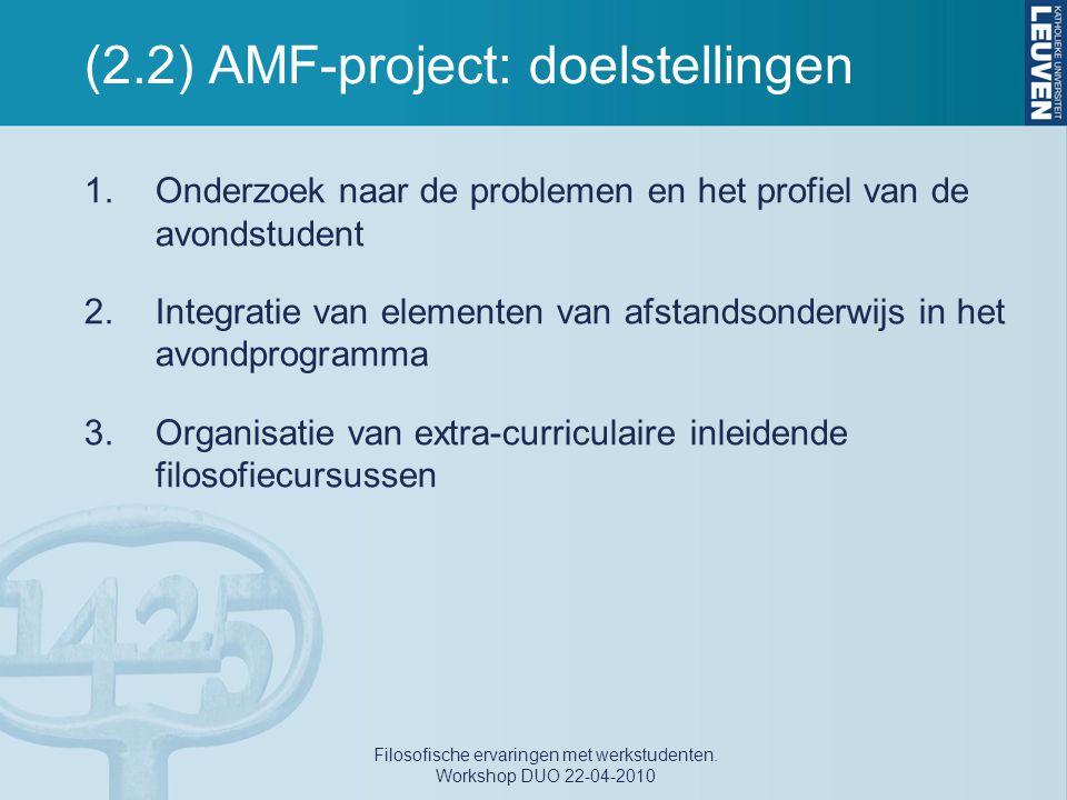 (2.2) AMF-project: doelstellingen 1.Onderzoek naar de problemen en het profiel van de avondstudent 2.Integratie van elementen van afstandsonderwijs in