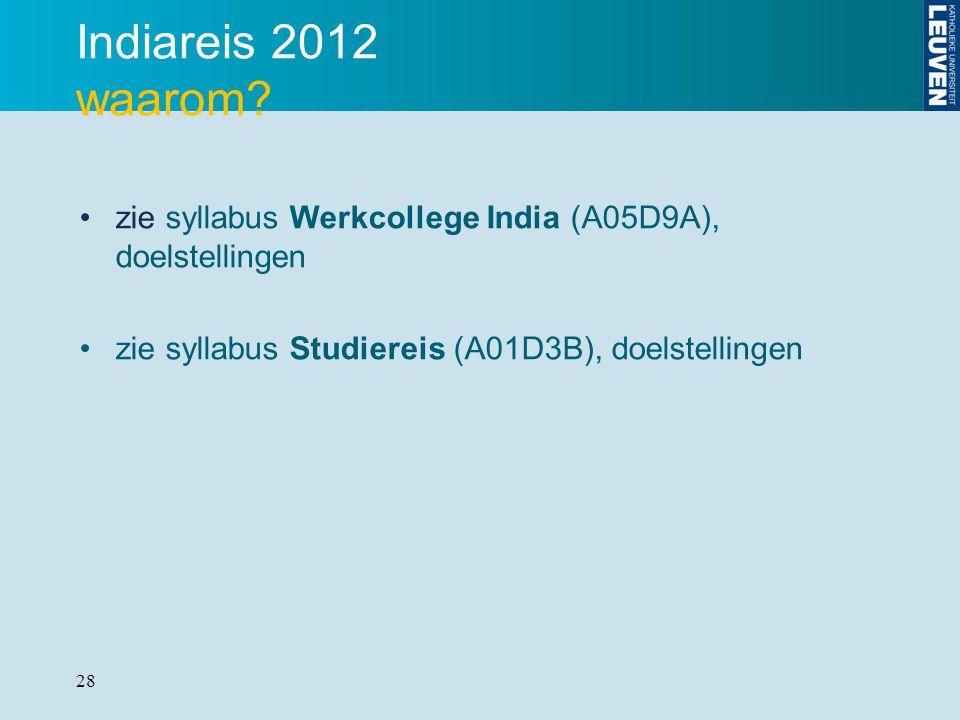 28 Indiareis 2012 waarom? zie syllabus Werkcollege India (A05D9A), doelstellingen zie syllabus Studiereis (A01D3B), doelstellingen