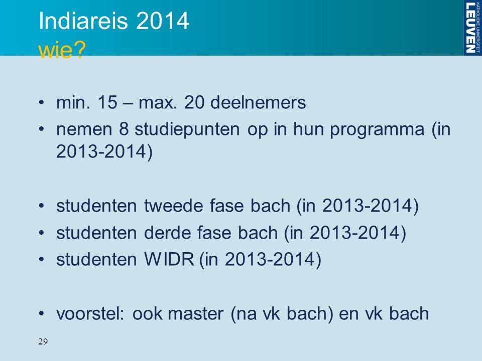 29 Indiareis 2014 wie? min. 15 – max. 20 deelnemers nemen 8 studiepunten op in hun programma (in 2013-2014) studenten tweede fase bach (in 2013-2014)