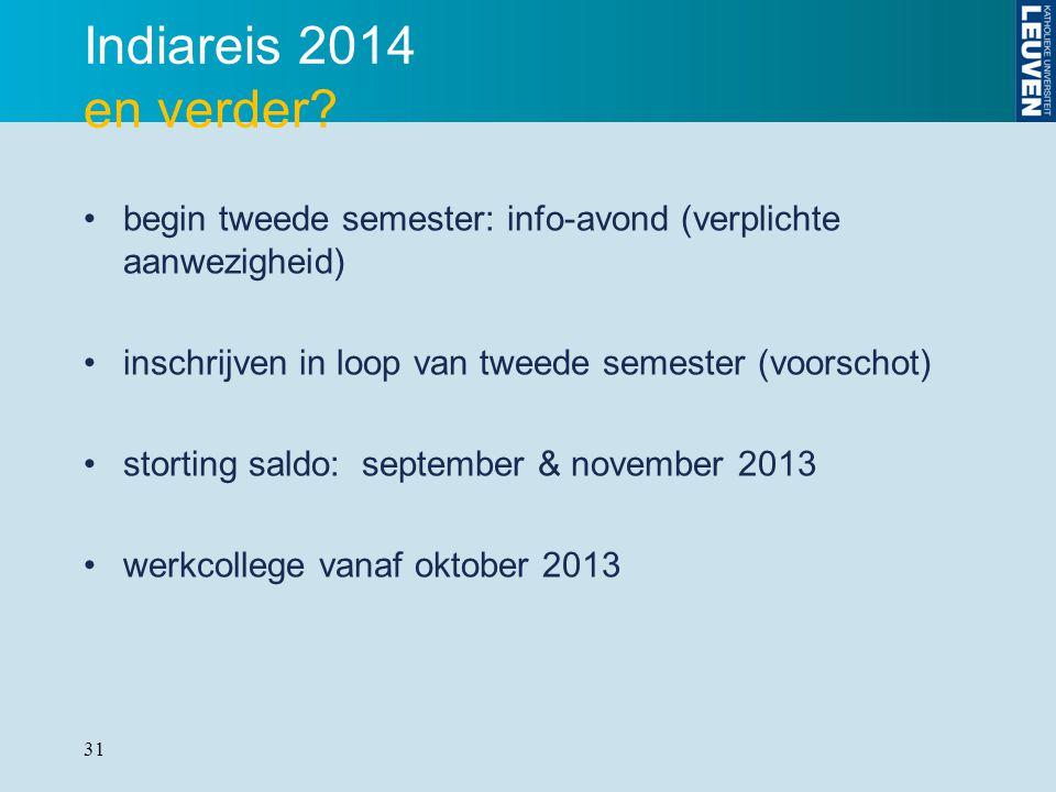 31 Indiareis 2014 en verder? begin tweede semester: info-avond (verplichte aanwezigheid) inschrijven in loop van tweede semester (voorschot) storting