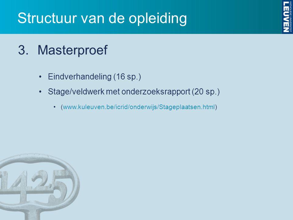Eindverhandeling (16 sp.) Stage/veldwerk met onderzoeksrapport (20 sp.) (www.kuleuven.be/icrid/onderwijs/Stageplaatsen.html) 3.Masterproef Structuur v