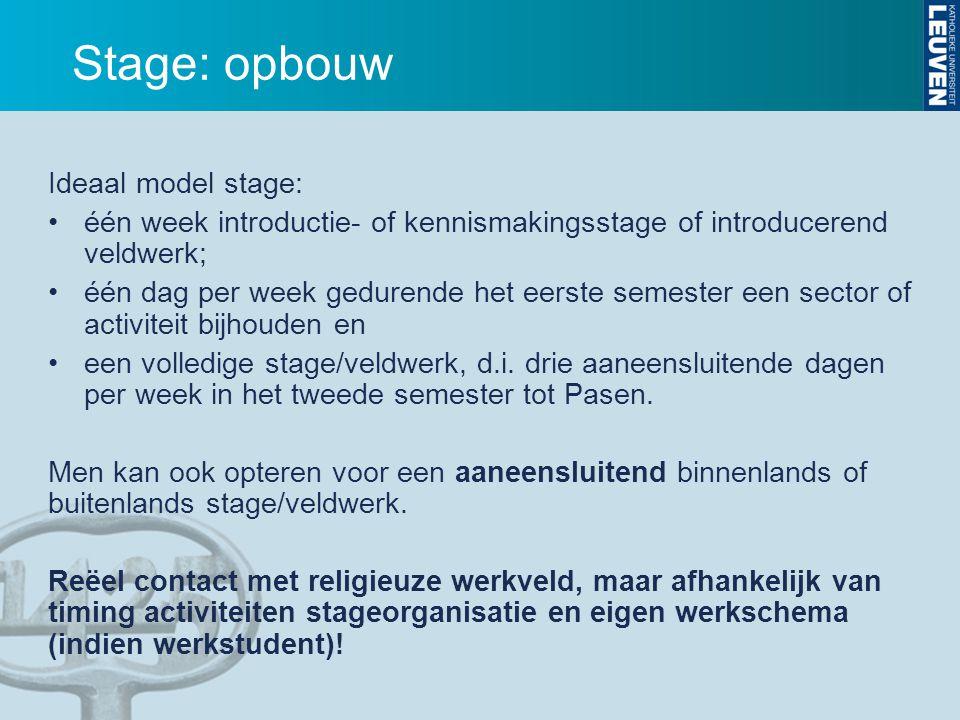Stage: opbouw Ideaal model stage: één week introductie- of kennismakingsstage of introducerend veldwerk; één dag per week gedurende het eerste semeste