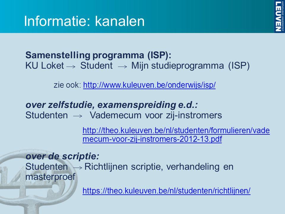 Samenstelling programma (ISP): KU Loket Student Mijn studieprogramma (ISP) zie ook: http://www.kuleuven.be/onderwijs/isp/http://www.kuleuven.be/onderw